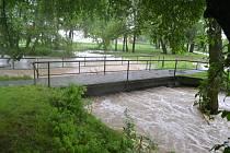 Povodně na Benešovsku, v Benešově Na Sladovém.