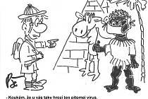 Kreslený vtip Jiřího Cinkeise a jeho kocábky kreslířů.