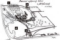 č. 1 –  noclehárna (dnes již zbourána), č. 2 – ubytování vězňů, č. 3 – u táborové brány bydlel velitel tábora, č. 4 –  rybník Návesník dolejší