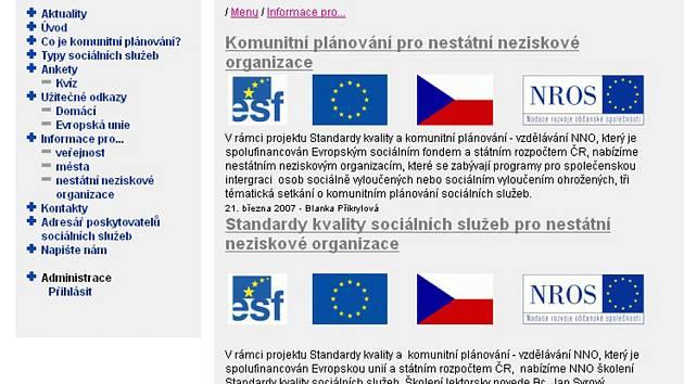 Webová stránka komunitního plánování.