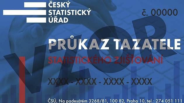 Vzor lícové strany průkazu tazatele Českého statistického úřadu.