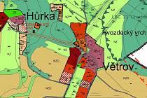 Výřez  nového územního plánu Týnce nad Sázavou zachycuje situaci v nejmenších týneckých osadách na Hůrce a ve Větrově u Pecerad.