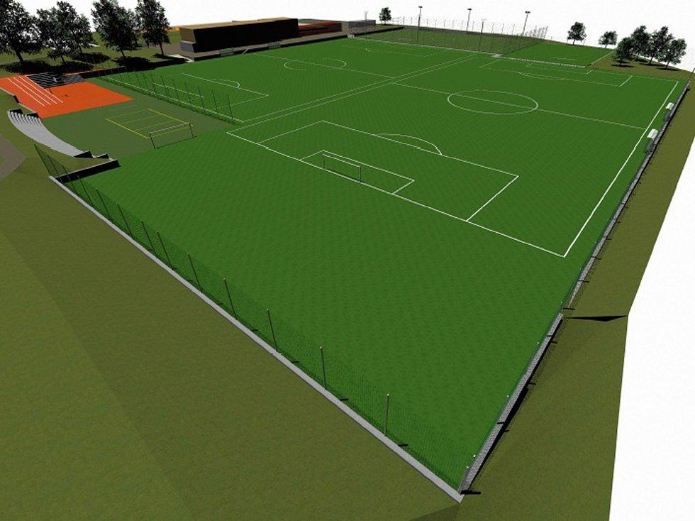 Plány na vizualizace proměn fotbalového stadionu v Benešově.