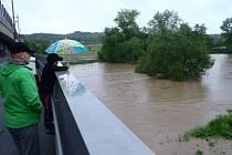 Čerčany v době záplavy.