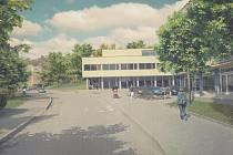 Vizualizace Komplexního rehabilitačního centra v areálu Nemocnice Rudolfa a Stefanie v Benešově.