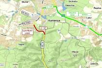 Plánek uzavírky silnice II/107 u Kamenice.