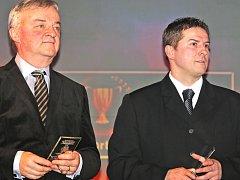 Zdeněk Zahradníček a Jan Srdínko při vyhlašování Nejlepšího sportovce Benešovska 2014.
