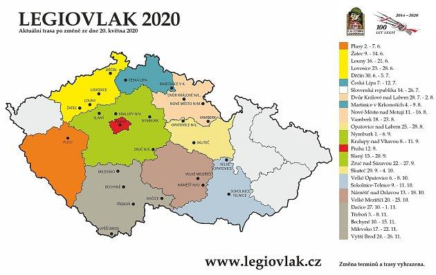 Seznam nádraží, kam Legiovlak zavítá vroce 2020.