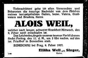 """Židovská smuteční (Traueranzeigen) oznámení benešovskýchŽidů, která byla v letech 1880 až 1938 uveřejněna zejména v pražských novinách """"Prager Tagblatt"""" ave vídeňských liberálních novinách """"Neue Freie Presse""""."""