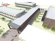 Vizualizace přístavby školy.