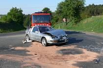 Nehoda dvou vozidel u Slaného