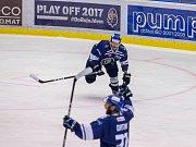 Kladno - Jihlava, čtvrtý zápas play off, hosté vítězí v prodloužení. Tady ještě slaví domácí vedení 3:1