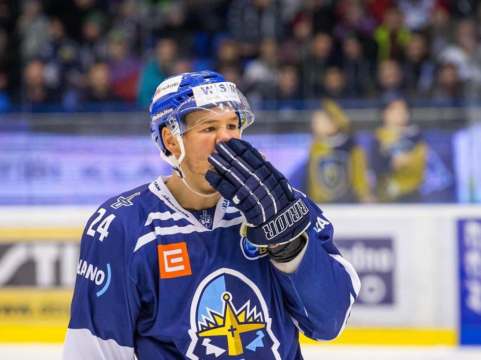 Kladno - Jihlava, čtvrtý zápas play off, polibek Joshe Grattona