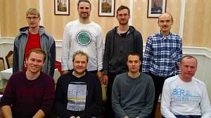 Aktuální sestava ŠK Kladno - horní řada zleva: Kuba Haman, Zbyněk Vondra, Vašek Kotyk, Pavel Freisler, dolní řada zleva: Adam Čáp, Honza Mišičko, David Němec, Jaromír Volf.