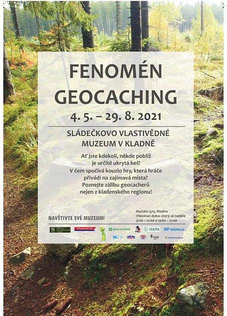 Plakát kvýstavě Fenomén geocaching.