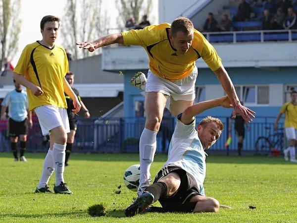 Útoční Slaného Mašek byl hodně vidět. Dal gól a druhý zařídil pro Pospíšila.