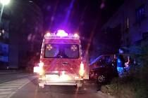 Nehoda s chodcem a automobilu v Šultysově ulici ve Slaném.