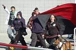 Policisté monitorovali jejich pochod městem.