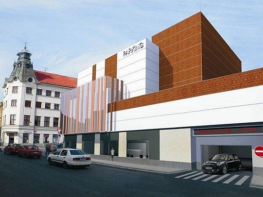 Vizualizace parkovacího domu ve Slaném