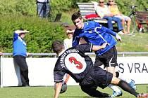 Libor Urban (v modrém) hrál výborně a dal i důležitý první gól.