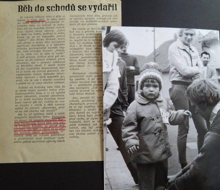 Běh do schodů se stal pro Podprůhonské už příjemnou tradicí. Na start se postavili letos i tatínek Václav Čechura s dcerou Martinou po dlouháých 40 letech.