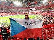 Stadion Wembley, 22. března 2019. Fanoušek Jaroslav Šperl.