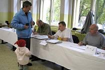 Volební místnost číslo 12 v prostorách Průmyslové školy Kladno