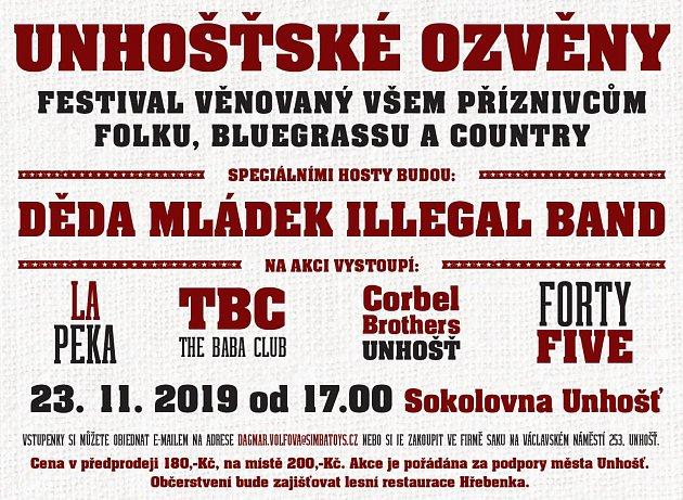 Plakát Unhošťské ozvěny 2019.