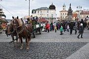 Tříkrálový průvod Kladnem vedený Josefem Františkem S. Králem a členy jezdecké stáje Tvrz Libušín