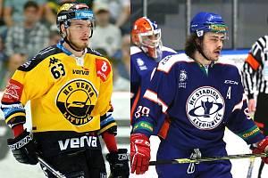 Nové posily hokejového Kladno, vlevo Marek Baránek, vpravo Matěj Beran.