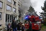 Požár bytu v ulici V Bažantnici v Kladně-Kročehlavech.