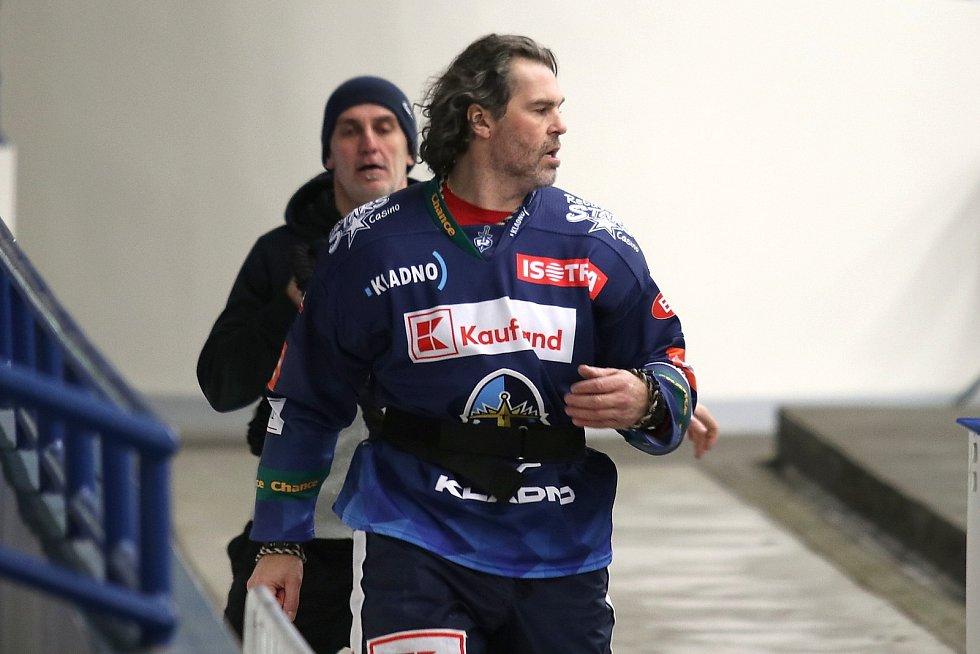 Jaromír Jágr - ostrá rozcvička před zápasem.