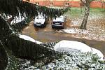 První sníh ve Slaném, 10. listopadu 2016