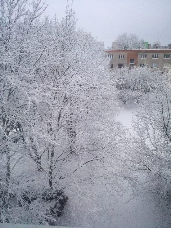 Zasněžená krajina na Kladensku.