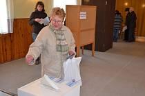Svého kandidáta přišla v Tuchlovicích podpořit také Alena Drnáková.