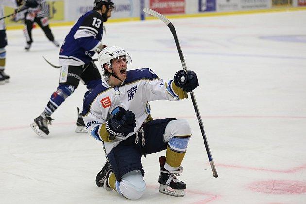 WSM liga: Kladno - Havířov, Tomáš Redlich slaví krásný a vítězný gól.