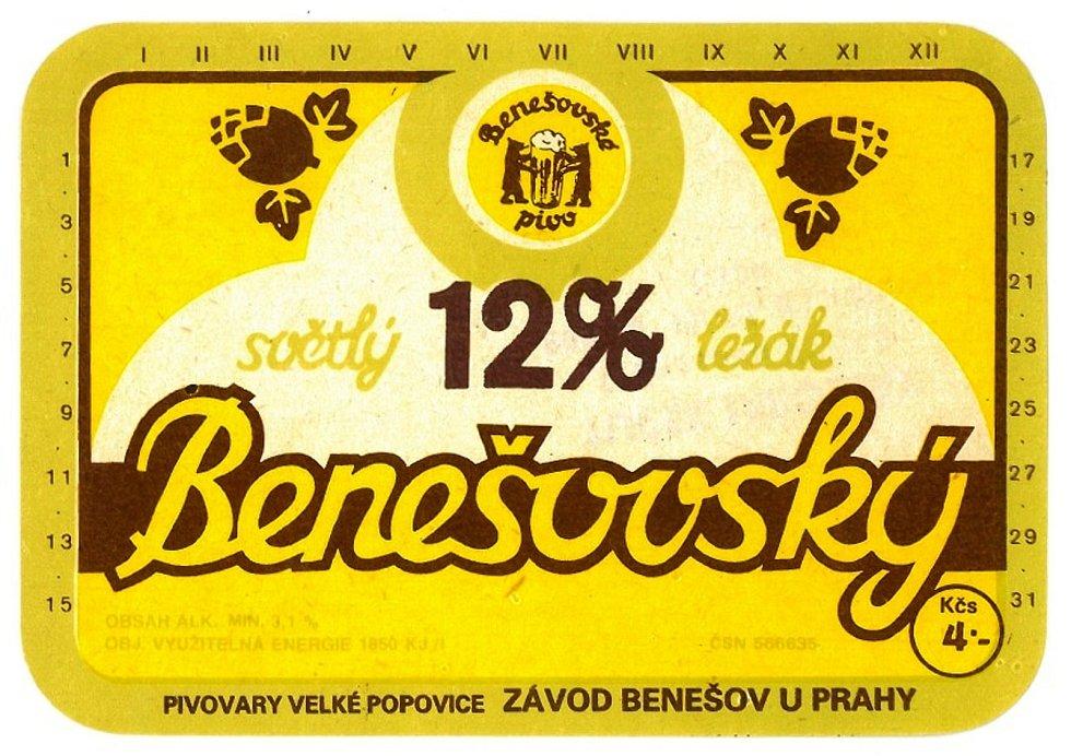 Benešovský dvanáctistupňový ležák - etiketa z 80 let minulého století.