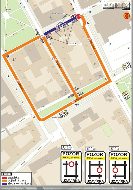 Oprava vKleinerově ulici vúsecích křižovatek sulicemi Vašatova a E. Beneše.