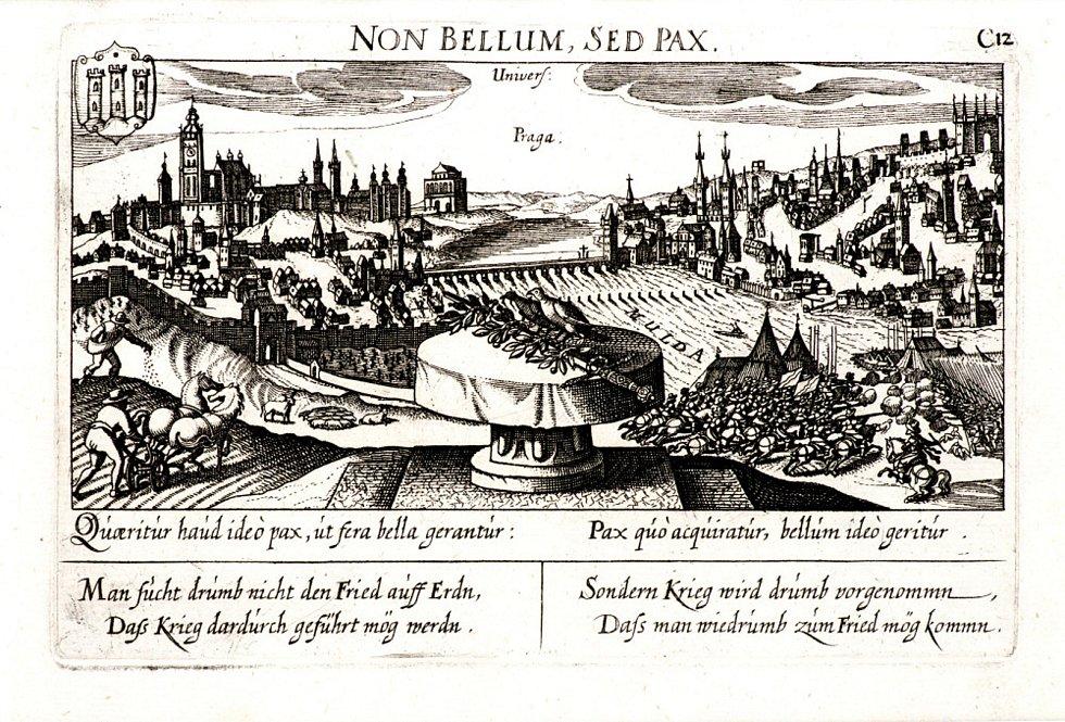 Eberhard Kieser (?) - Pohled na Prahu s alegoriemi války a míru (soukromá sbírka) - rok 1638, mědiryt.