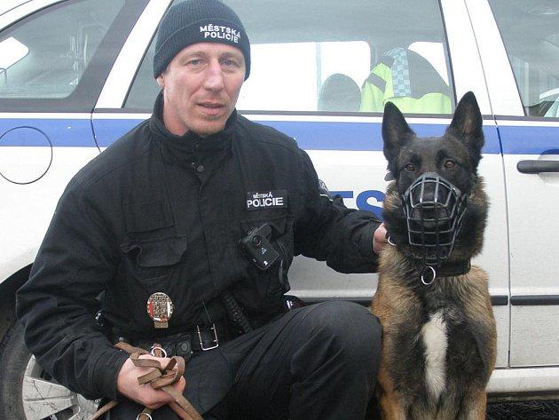 Kladenský strážník – psovod Jiří Krunt s belgickým ovčákem Asterixesem.