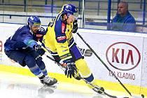 Chance liga, Kladno (v modrém) hostilo Přerov. Marek Račuk přihrál na dvě branky domácích.
