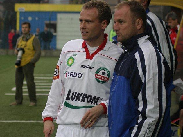 Marcel Lička v dresu Zlína (vlevo) s trenérem Hoftychem.