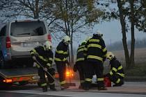 Dopravní nehoda u Kladna 25. října 2020.