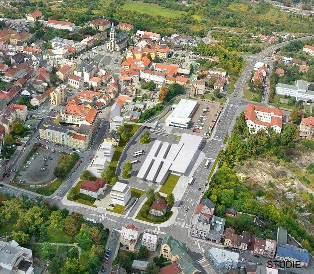 Snímky zobrazující současný stav autobusového nádraží vKladně a také studie vytvořená předchozím vedením města.