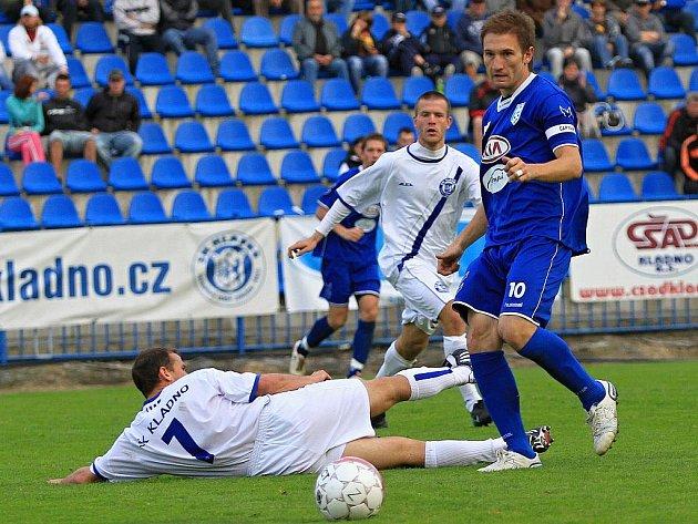 Marek Jungr ještě v dresu Vlašimi v duelu na Kladně.