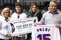 PŘEDÁNÍ. Vojta Koval  (druhý zleva) dostal při včerejším hokeji symbolický šek na 146 609 korun  od manažerky Rytířů Andrey Kuthanové (vlevo) a modelky Lucie Váchové-Křížkové. Dres Jaromíra Jágra vydražil Bernard Lainka (vpravo).