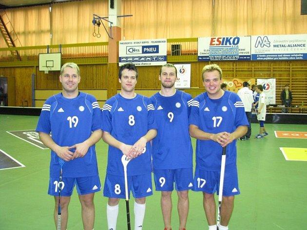 Zleva Jaroslav Kalla, Jan Rudovský, Richard Diviš a Marek Trončinský - čtyři hokejisté Kladna, kteří si zahráli za tým osobností.