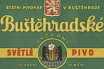 Etiketa buštěhradského piva.