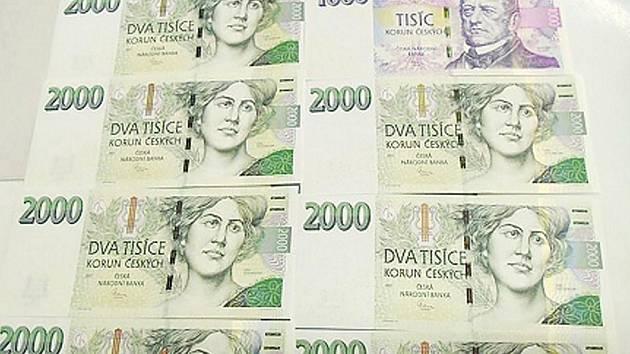 Nalezené bankovky.