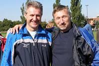 Hřebeč - Lidice 3:2, před odpoledním derby Slaný - Lhota kuli pikle šéfové klubů - Ivan Horák (slánský rodák) a Zdeněk Hořejší.